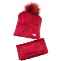Veliūrinė kepurė su mova (su pašiltinimu)