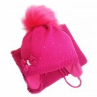 Žieminė kepurė mergaitei Kelly(46-48 cm) tams.rausva
