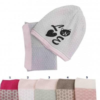Rudeninis - pavasarinis kepurės ir movos komplektas mergaitei (48-50 cm)