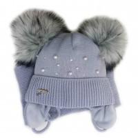 Žieminė kepurė mergaitei Anastazija(44-46 cm) pilka