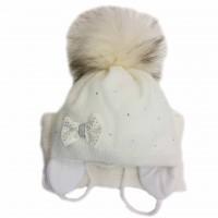 Žieminė kepurė mergaitei Kelly(46-48 cm) pieno spl.