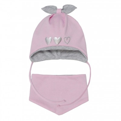 AJS dvigubo trikotažo kepurė su skarelė kūdikiui 40-42 cm