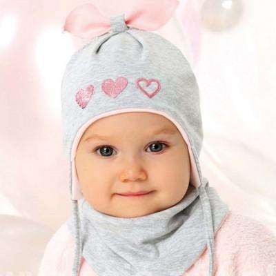 AJS dvigubo trikotažo kepurė su skarelė kūdikiui 44-46 cm