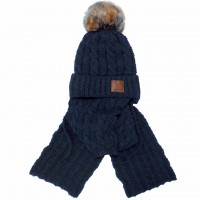 Žieminė kepurė su šaliku berniukui (50-52 cm)