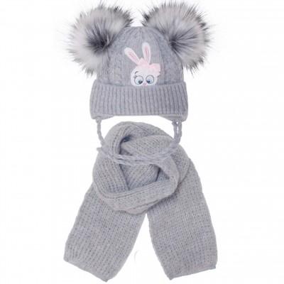 Žieminė kepurė su šaliku mergaitei (40-42 cm)