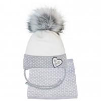 Žieminė kepurė su mova mergaitei (46-48 cm)