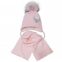 Žieminė kepurė ir šalikas mergaitei (44-48 cm)