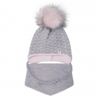 Žieminė kepurė ir šalikas mergaitei (pilka/rausva 44-46 cm)