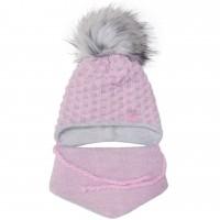 Žieminė kepurė ir šalikas mergaitei (rausva/pilka 44-46 cm)