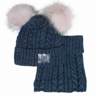 Žieminė kepurė mergaitei su mova mėlyna (52-56 cm)
