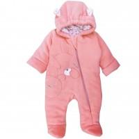 Pavasarinis - rudeninis šiltas kombinezonas kūdikiams Baby (rausvos spl.)