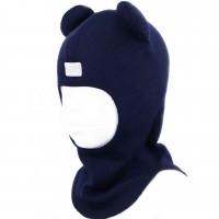 Merino vilnos tamsiai mėlynas kepurė-šalmas Meškiukas 2202/2