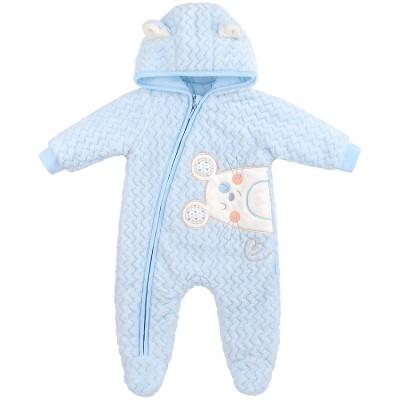 Pliušinis kombinezonas kūdikiams (melsvas)