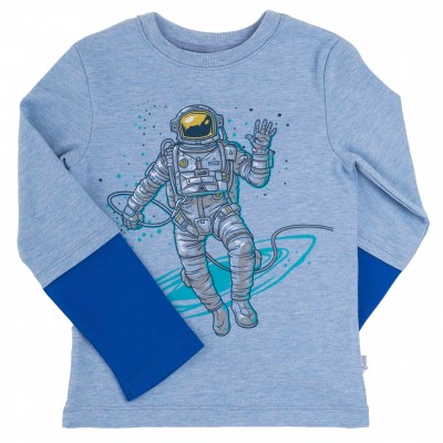 """Marškinėliai berniukui """"Kosmonautas"""" melsvi"""