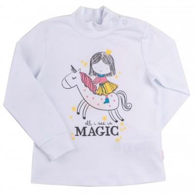 """Palaidinė aukštu kaklu mergaitei """"Magiic"""" baltos spl."""