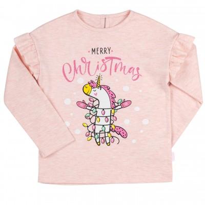 Kalėdinė palaidinė mergaitei Merry Christmas (rausva)