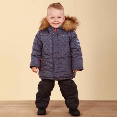 Žieminis kombinezonas berniukui (Dviejų dalių) (mėlyna - oranžinė)