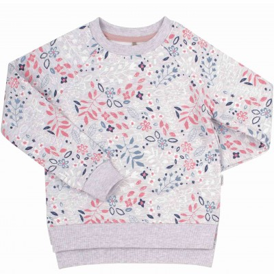 Pilkas džemperis mergaitei Flowers