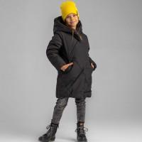 Prailginta juoda žieminė striukė mergaitei