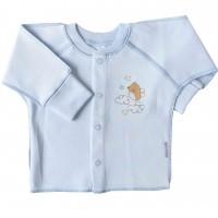 """Marškinėliai kūdikiui išvirkščiomis siūlėmis su pirštinėmis """"Paukščiukas"""" melsvi"""