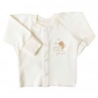 """Marškinėliai kūdikiui išvirkščiomis siūlėmis su pirštinėmis """"Paukščiukas"""" pieno spl."""