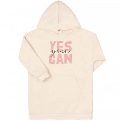 Prailgintas džemperis Yes you can (pieno spalvos)