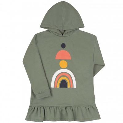 Šilto trikotažo (su pūkeliu) suknelė mergaitei Abstract (chaki spalvos)