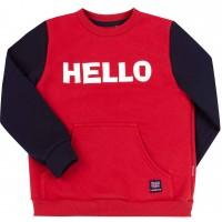 Šiltas džemperis (su pūkeliu) Hello ( raudona/mėlyna)