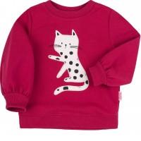 Šiltas džemperis mergaitei Katytė (avietinės spalvos)