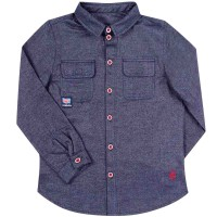 Flaneliniai marškiniai berniukui London (tamsiai mėlynos spl.)