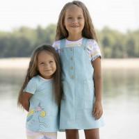 Sarafano ir palaidinės komplektas mergaitei (mėlynas)