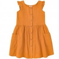 Muslino (organinės medvilnės) suknelė mergaitei (garstyčių spalvos)