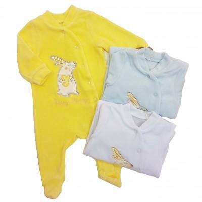 """Veliūriniai šliaužtinukai - kombinezonas kūdikiui """"Happy Bunny"""""""
