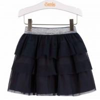 Tamsiai mėlynas tiulio sijonas