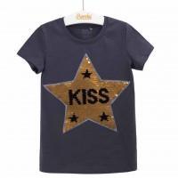 """Žvyneliais puošta palaidinė mergaitei """"KISS"""""""