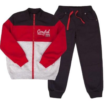 Šiltas sportinis kostiumas (su pūkeliu) pilkas-raudonas