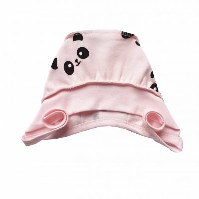 Šilta (su pūkeliu) kepurė kūdikiui Panda (rausva)