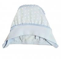 Kepurė kūdikiui išvirkščiom siūlėm (melsva)
