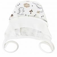 Šilta (su pūkeliu) kepurė kūdikiui Dino (balta/ruda)
