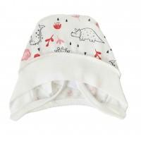 Šilta (su pūkeliu) kepurė kūdikiui Dino (balta/raudona)