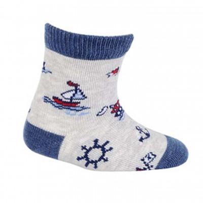 "Gatta kojinės ""Laiveliai"" pilka/mėlyna"
