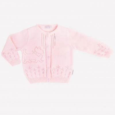Medvilninis plonas megztinis mergaitei šviesiai rausvas
