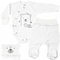 Baltas naujagimio kraitelis išvirkščiomis siūlėmis 3 d. Lovely baby bear