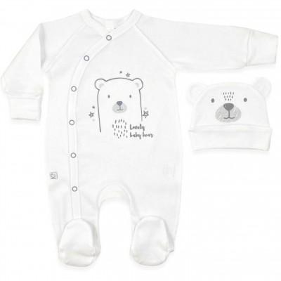 Baltas kombinezonas -šliaužtukai su kepurytė išvirkščiomis siūlėmis Lovely baby bear