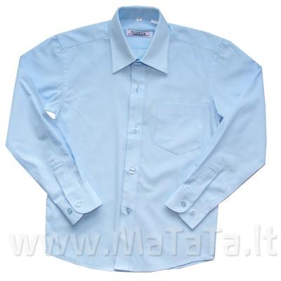 Melsvi marškiniai berniukui ilgomis rankovėmis.