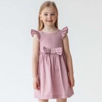Plona lininė - medvilninė suknelė mergaitei Barbi (pelenų rožės spl.)