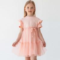 Trikotažinė suknelė mergaitei Leja (persiko spalvos)