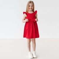 Plona lininė - medvilninė suknelė mergaitei Barbi (raudona)