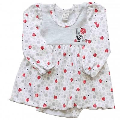 Smėlinukas-suknelė Boružėlė (balta/pilka)